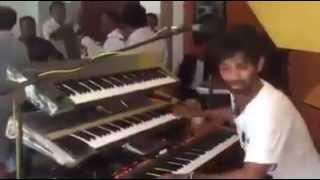 dancing keyboard player