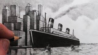 How to Draw using One Point Perspective: A City and Ocean Liner