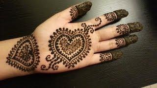 Pretty Heart Henna Design - Easy Hearts Shaped Mehendi Design