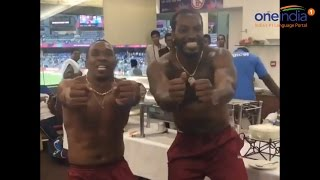 Chris Gayle, Dwayne Bravo's top-less dance after West Indies' win over India