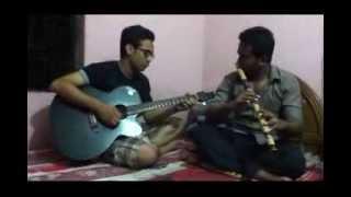 Brishti nemeche aaj metho pothe (bansi & guitar)