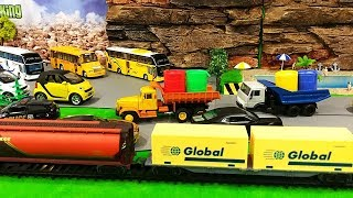 Car Street Vehicles for Kids | Street Vehicles Parking for Children | Train for Kids | Cartoon Toys