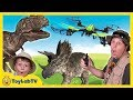 Download Video Download T-Rex Drone Face Off with Park Ranger Aaron, Life Size Dinosaurs & Surprise Toys, Fun Kids Video 3GP MP4 FLV