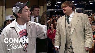 "Adam Sandler & Chris Farley On ""Late Night With Conan O'Brien"" 04/06/95"