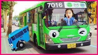 타요랑 로기버스 타고 놀이터에서 물놀이해요 Tayo Bus in Real Life 보람튜브