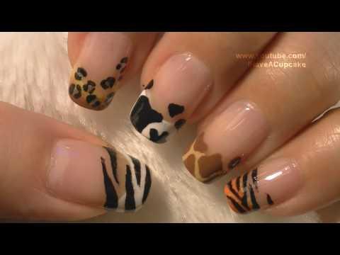 Animal Prints Nail Art Tutorial Arte para las uñas con dibujos de manchas de animales