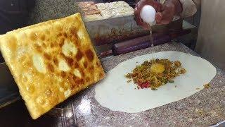 Arbi Paratha - Murtabak Paratha Street Food of Karachi Pakistan