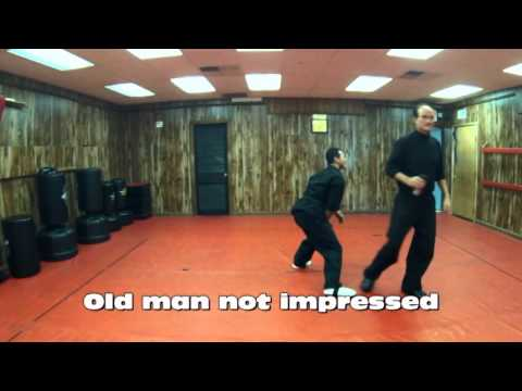 Young Karate Man Shows Off, Old Man Not Impressed