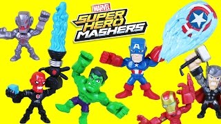 Marvel Super Hero Mashers Micro Captain America vs Iron Skull. Micro Mashers have a Funny Mashup.