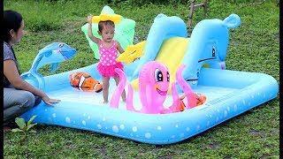 Unboxing Kolam Renang Perosotan anak bayi mandi lucu - unboxing baby swimming pool kids water slide