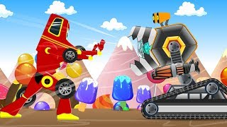 Scary Crusher Machine in Kids Candy Land Rescued by Red Super Car | Cartoon Songs & Rhymes