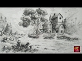 How To Draw and Shade A Simple Landscape For Beginners With Pencil