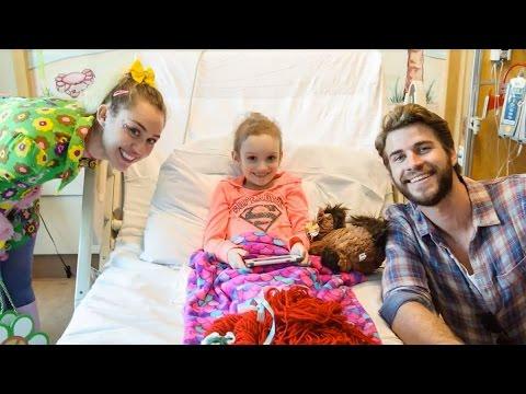 watch Miley Cyrus and Liam Hemsworth Visit Julia Davidson at Rady Children's Hospital