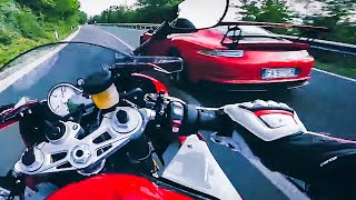 Ferrari 458 Italia F430 Spider Porsche GT3 vs MaxWrist BMW S1000RR Honda CBR1000RR