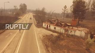Portugal: Drone captures abandoned cars and ruined houses as 62 die in forest fire