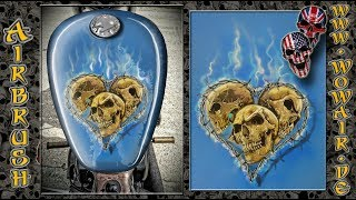 """Airbrush by Wow No.897 """" Skullz & barbed wire heart """" english commentary"""