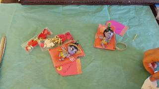 krishna dolls Adidev and Abdhutah being packed off and posted to little devotee friends.
