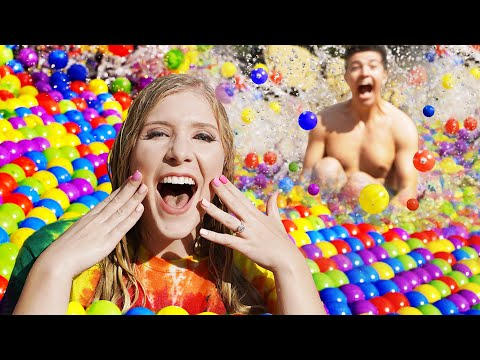 I Spent 24 Hours in a BALL PIT Pool Challenge