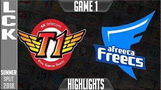 SKT vs AFS Highlights Game 1 | LCK Summer 2018 Week 7 Day 2 | SK Telecom T1 vs Afreeca Freecs G1
