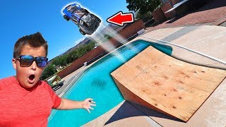TESLA X Autopilot Test Drive?! Jumping an Electric Car Over Swimming Pool!!