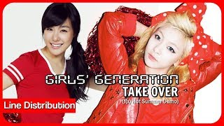 SNSD (Girls' Generation) 「TAKE OVER (HOT SUMMER DEMO)」 Line Distribution | Color Coded Bars