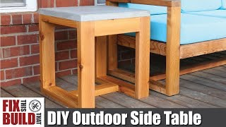 DIY Outdoor Side Table with Concrete Top (2x4 Challenge) | How to Build