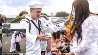Navy Husband Returning Home Is Surprised by Wife's Baby Bump