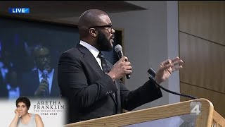 Tyler Perry at Aretha Franklin's funeral service