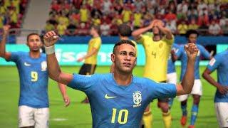 World Cup 2018 Brazil vs Belgium - World Cup Quarterfinals Full Match Sim (FIFA 18)