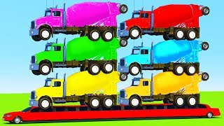 LEARN COLORS for Kids w TRUCK on LONG CAR And Superhero Spiderman Cartoon for Children
