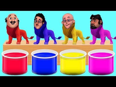 Xxx Mp4 Motu Patlu Head Lion Bathing Colors Fun Colors For Children To Learn With Motu Patlu Cartoon 3gp Sex