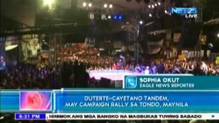 Duterte Cayetano tandem, may campaign rally sa Tondo, Maynila