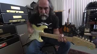 Pedalboard  Tone Talk - Gjika 10^n amp demo room - univibe, tremolo, delay, & fuzz guitar pedals.