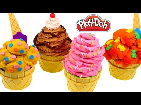 Play Doh Secret Ice Cream Toys Surprise Eggs! Opening Playdough Deserts and Eggs