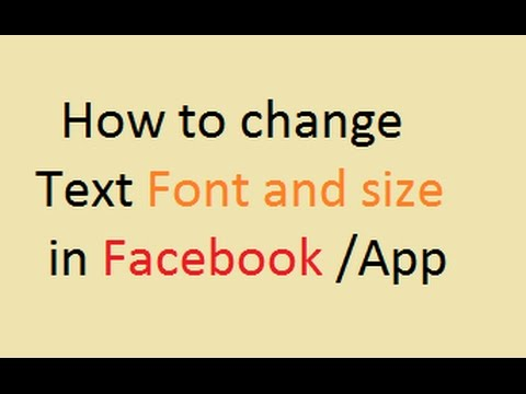 Watch How to change Font and Size of Text in facebook ...