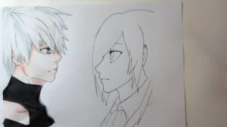 Drawing Kaneki Ken and Touka (from Tokyo Ghoul)