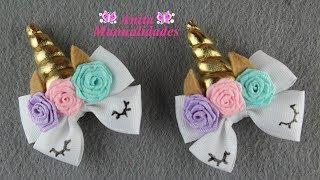 Par de Mini Moños Unicornio   Anita Manualidades