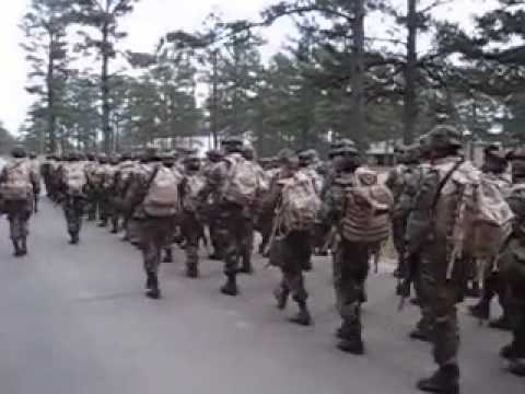 watch Army National Guard march and chant