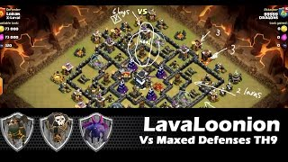 Lava Hound Strategy vs a MAXED TH9 with Loonion | Lavaloonion | Clan Wars | Clash Of Clans HD