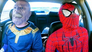 Superheroes Dancing in Car   Spiderman & Thanos   Funny Movie in Real Life