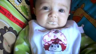Cute 4 month Baby first meal