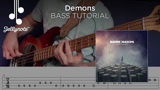 Demons - Imagine Dragons - Play-a-long Bass Guitar Tutorial with Tabs (Jellynote Lesson)