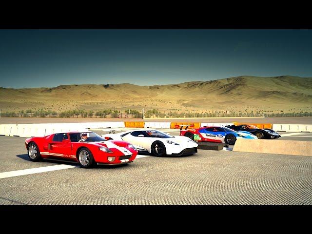 2017 Ford GT vs 05 Ford GT vs Ford GT40 mkII vs #66 Ford GT Le Mans Drag Race | Forza 6