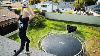 BOWLING BALL Vs. TRAMPOLINE SUPER BOUNCE TRICK SHOTS!