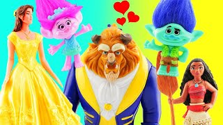 Beauty and The Beast Movie Transformation with Belle, Trolls Poppy & Branch, Moana Maui & PJ Masks!