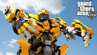 TRANSFORMERS BUMBLEBEE & OPTIMUS PRIME!! (GTA 5 Mods)
