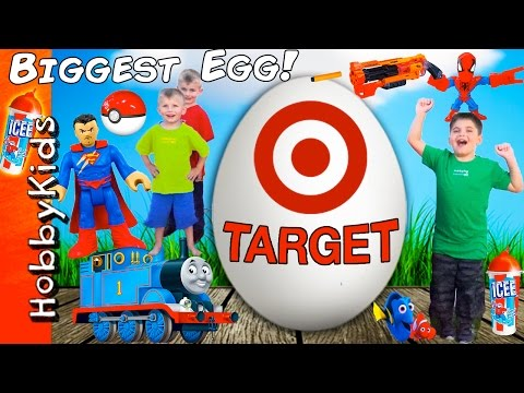 World's Biggest TARGET Surprise Egg! Scavenger Hunt Toys + Nerf and Superhero HobbyKidsTV