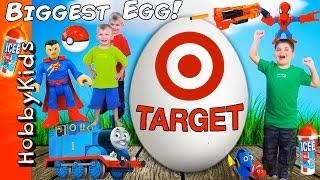 World's Biggest TARGET Surprise Egg! Scavenger Hunt Toys + Nerf and Superhero HobbyKidsTV