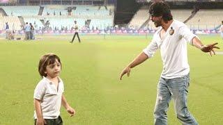 SRK Playing With Son Abram Khan At Eden Gardens Post KKR Vs RCB Ipl 2016 Match