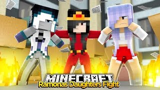 Minecraft Little Kelly : RAMONAS DAUGHTERS FIGHT! w/ Little Carly & Sharky Adventures!